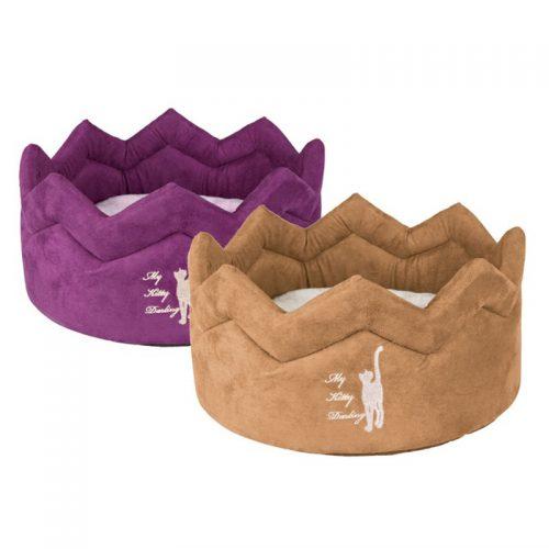 Katzenbett violett und braun Pfotenoase