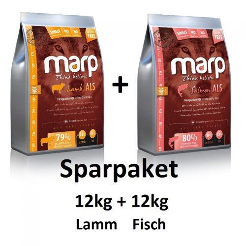 Sparpaket 12kg Lamm + 12kg Fisch Marp Pfotenoase getreidefrei